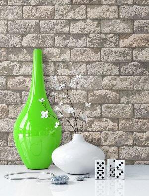 Steintapete Beige Mauer Ziegel