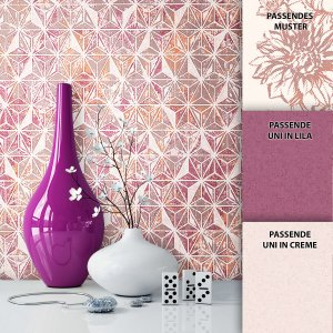 Tapete Graphic Dekoration Lila Beige Creme