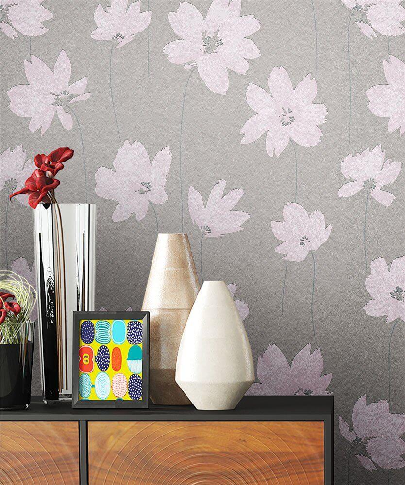 vliestapete beige floral blumen b ro diele flur k che schlafen wohnen newroom. Black Bedroom Furniture Sets. Home Design Ideas