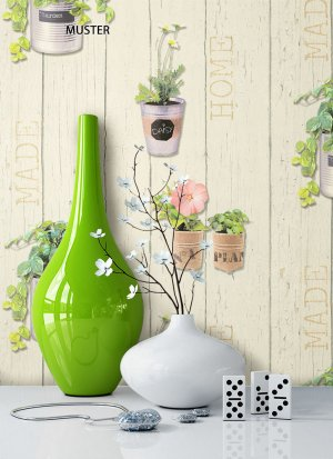 Tapete Creme Blumen Floral Dekoration