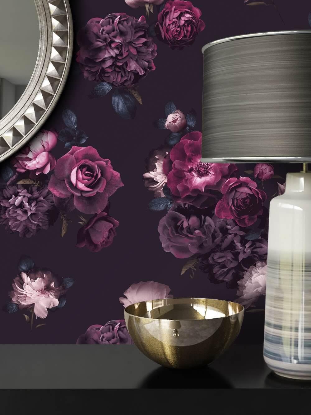 papiertapete schwarz floral rosen blumen newroom