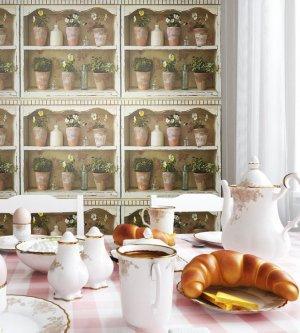 Tapete Vlies Landhaus Blumen Frühstück