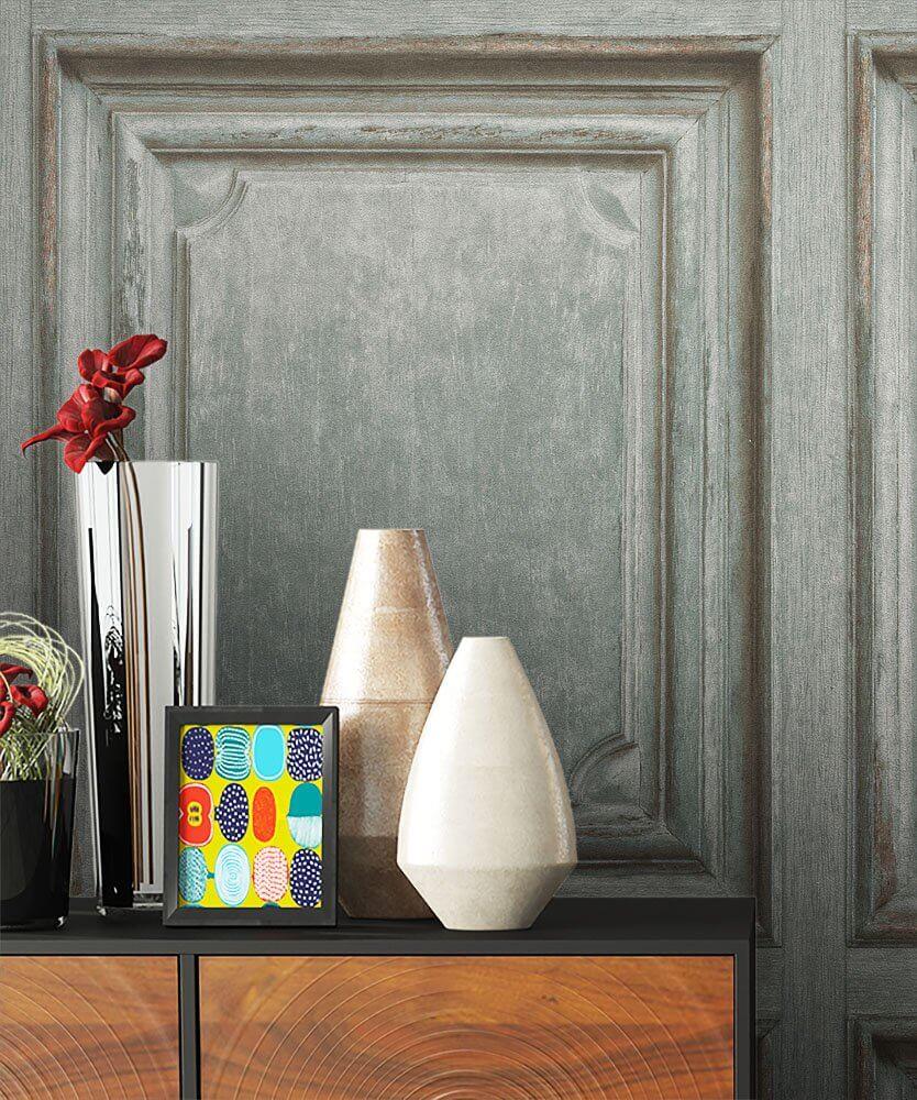 vliestapete grau landhaus holzbalken holz wohnen schlafen k che diele newroom. Black Bedroom Furniture Sets. Home Design Ideas