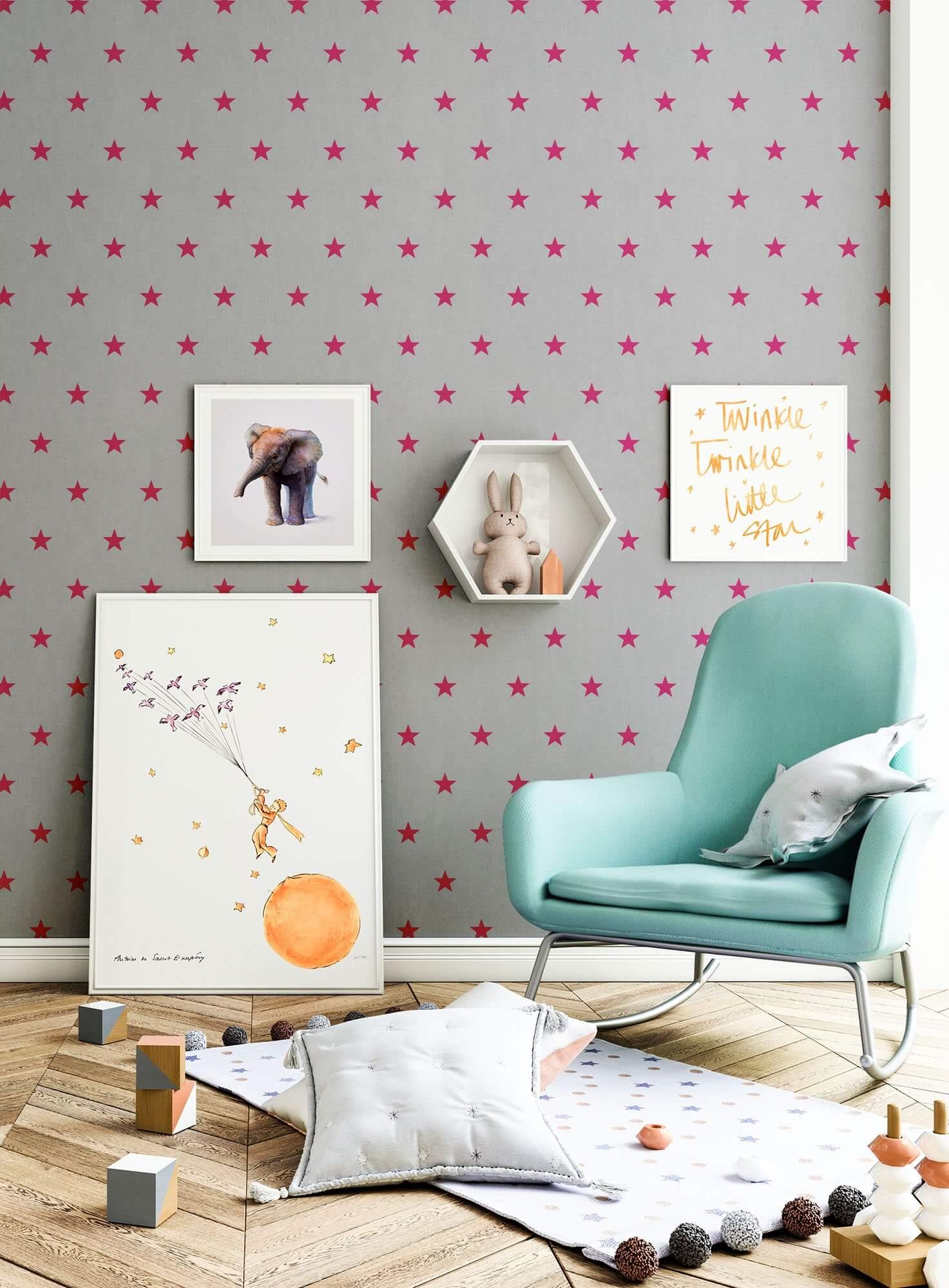 papiertapete grau kinder sterne wohnen kinder schlafen newroom. Black Bedroom Furniture Sets. Home Design Ideas