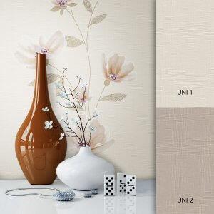 Blumentapete beige braun