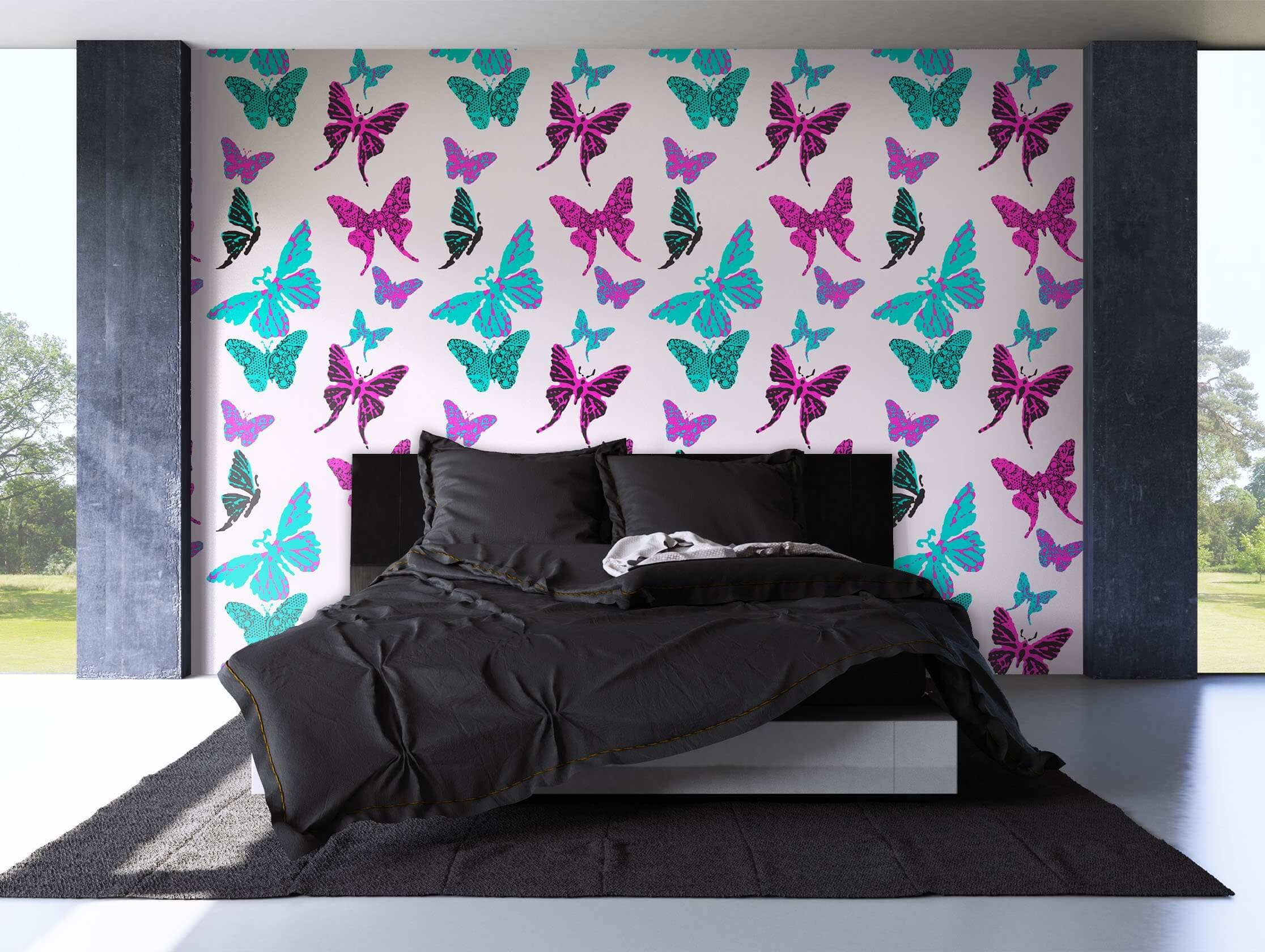 ... Tapete Schmetterlinge Dekoration Pink Rosa Lila Türkis Papillon Papillon