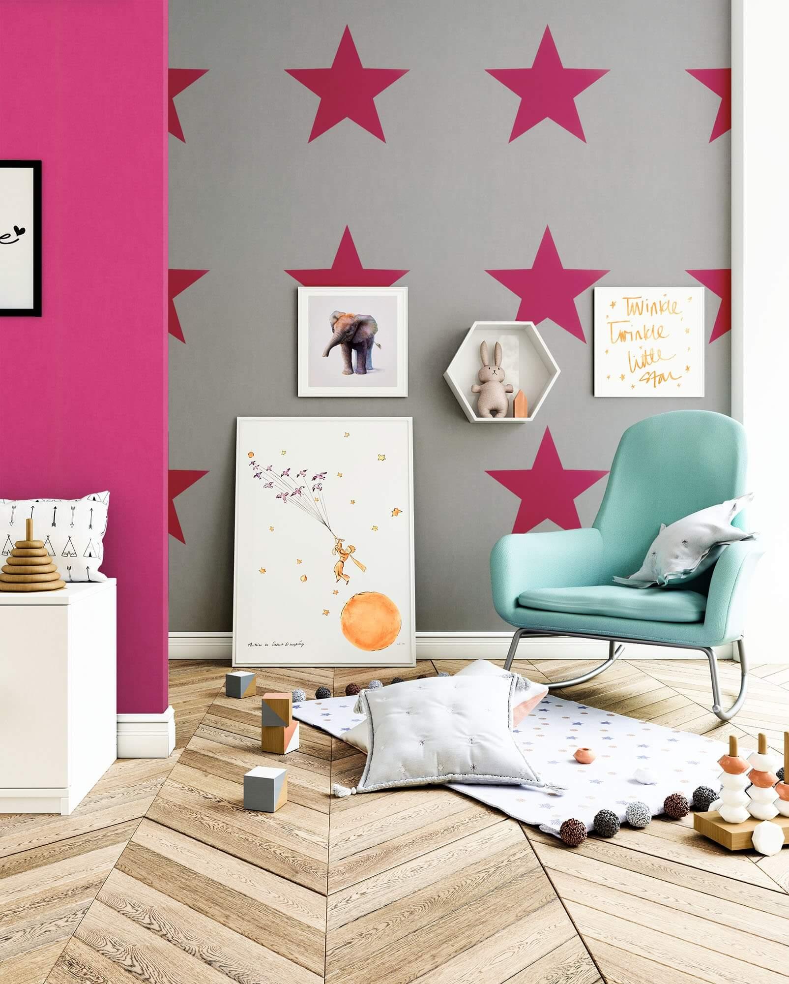 Papiertapete - Grau - Kinder - - Sterne - Wohnen Kinder - newroom