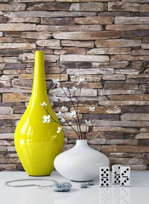 Steintapete Vlies Grau Braun Beige Vase