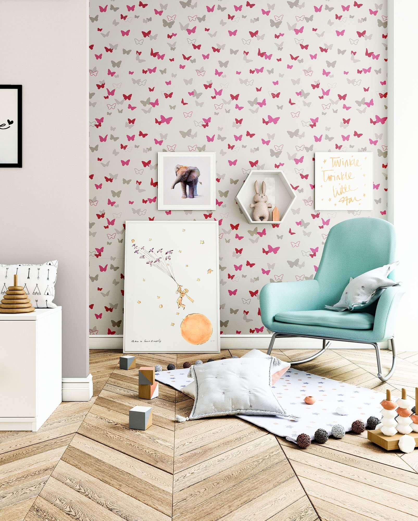 Vliestapete - Rosa - Natur - - Schmetterlinge - Kinder - newroom