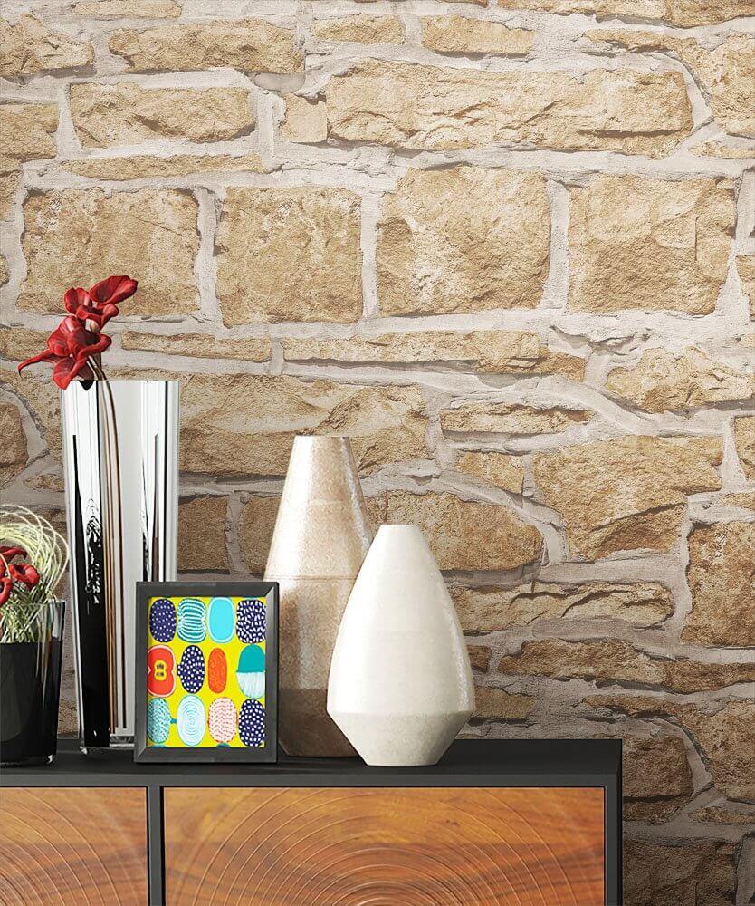 papiertapete beige modern mauer stein diele flur schlafen wohnen newroom. Black Bedroom Furniture Sets. Home Design Ideas