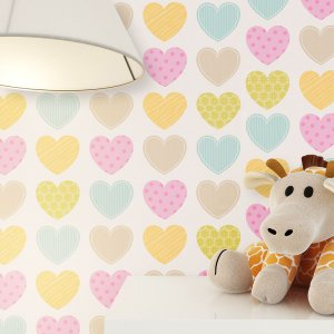 Kinderzimmer Dekoration Tapete Junge Mädchen Lampe