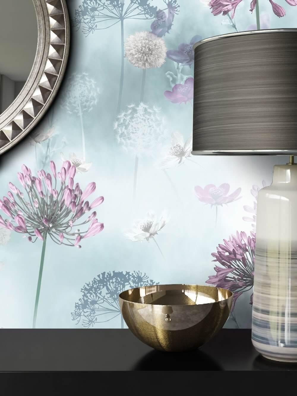 Papiertapete Violett Floral Blumen Pusteblumen Newroom