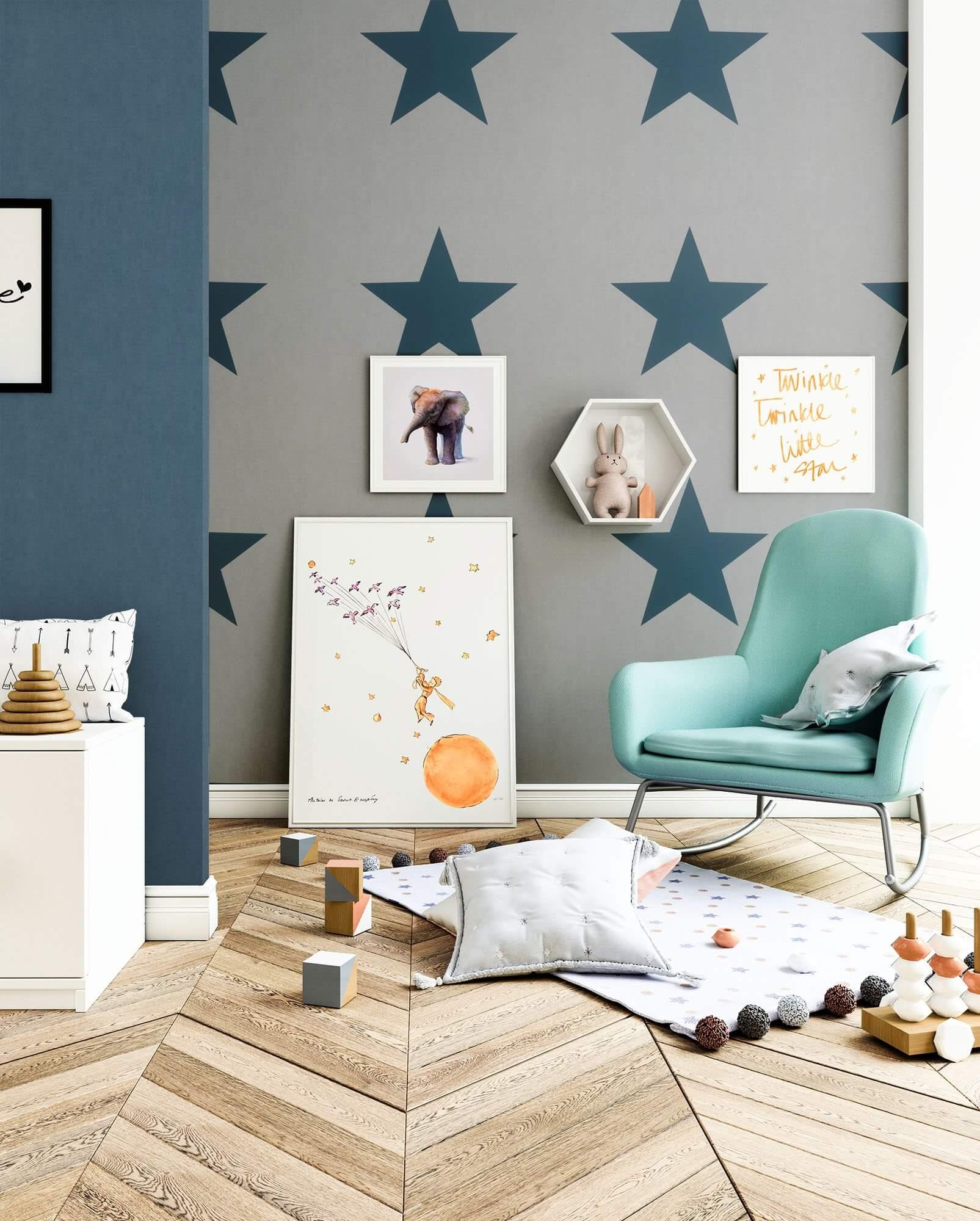 papiertapete grau modern sterne wohnen kinder newroom. Black Bedroom Furniture Sets. Home Design Ideas