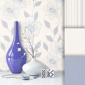 Blumen Vliestapete Creme Blau
