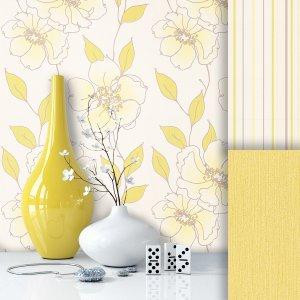 Blumen Vliestapete Gelb