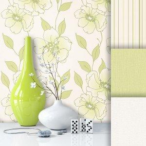 Blumen Vliestapete Beige Grün
