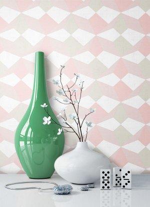Tapete Rosa Grün Grafik Muster Deko