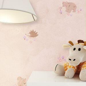 Tapete Kinder Kinderzimmer Rosa Beige Deko