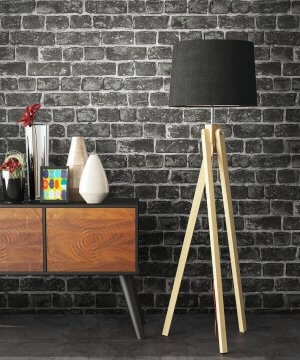Tapete Stein Schwarz Sideboard Lampe
