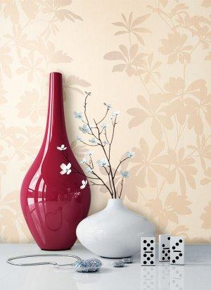 Tapete Beige Creme Blumen Muster Deko