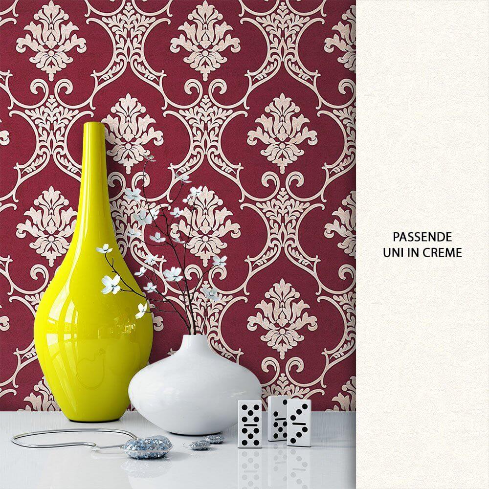 tapete vlies rot beige barock dekoration tapete vlies rot beige barock dekoration - Tapete Rot Muster