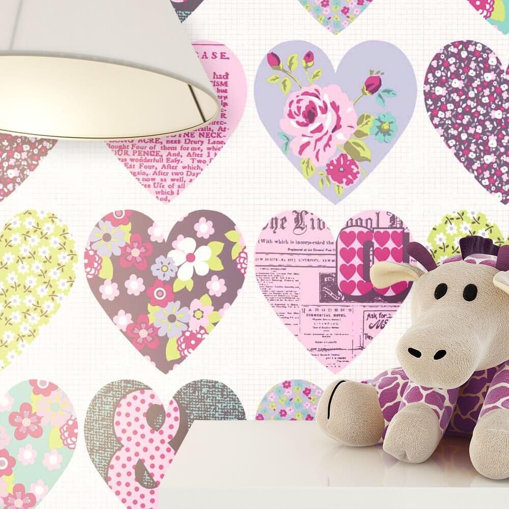 papiertapete lila romantisch herzen newroom. Black Bedroom Furniture Sets. Home Design Ideas
