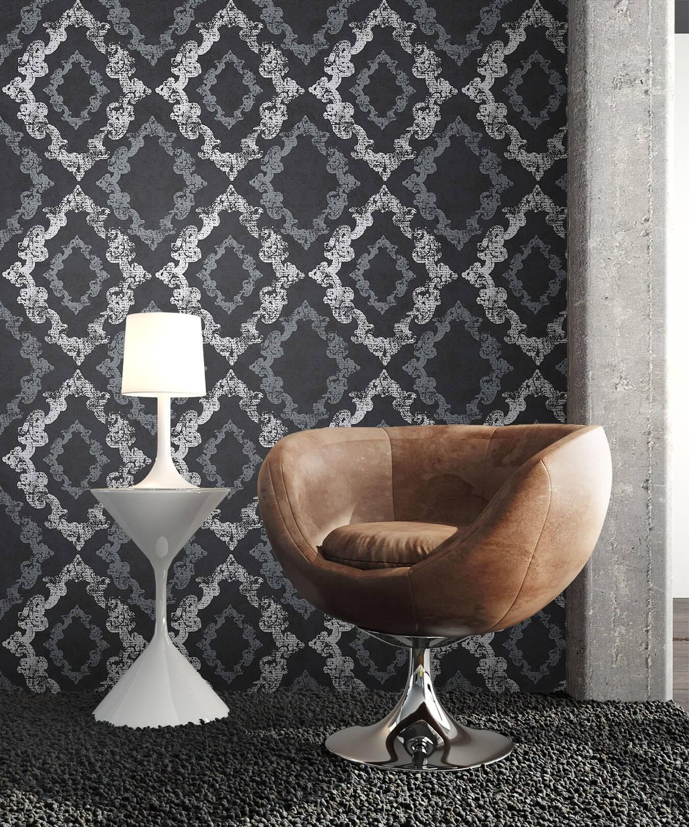 Vliestapete - Schwarz - Barock - - Ornament - Büro, Diele/Flur ...