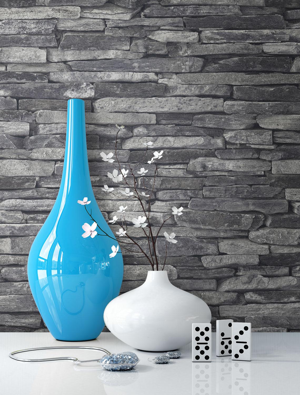 newroom steintapete vliestapete grau mauer stein landhaus schwarz modern 3d ebay. Black Bedroom Furniture Sets. Home Design Ideas