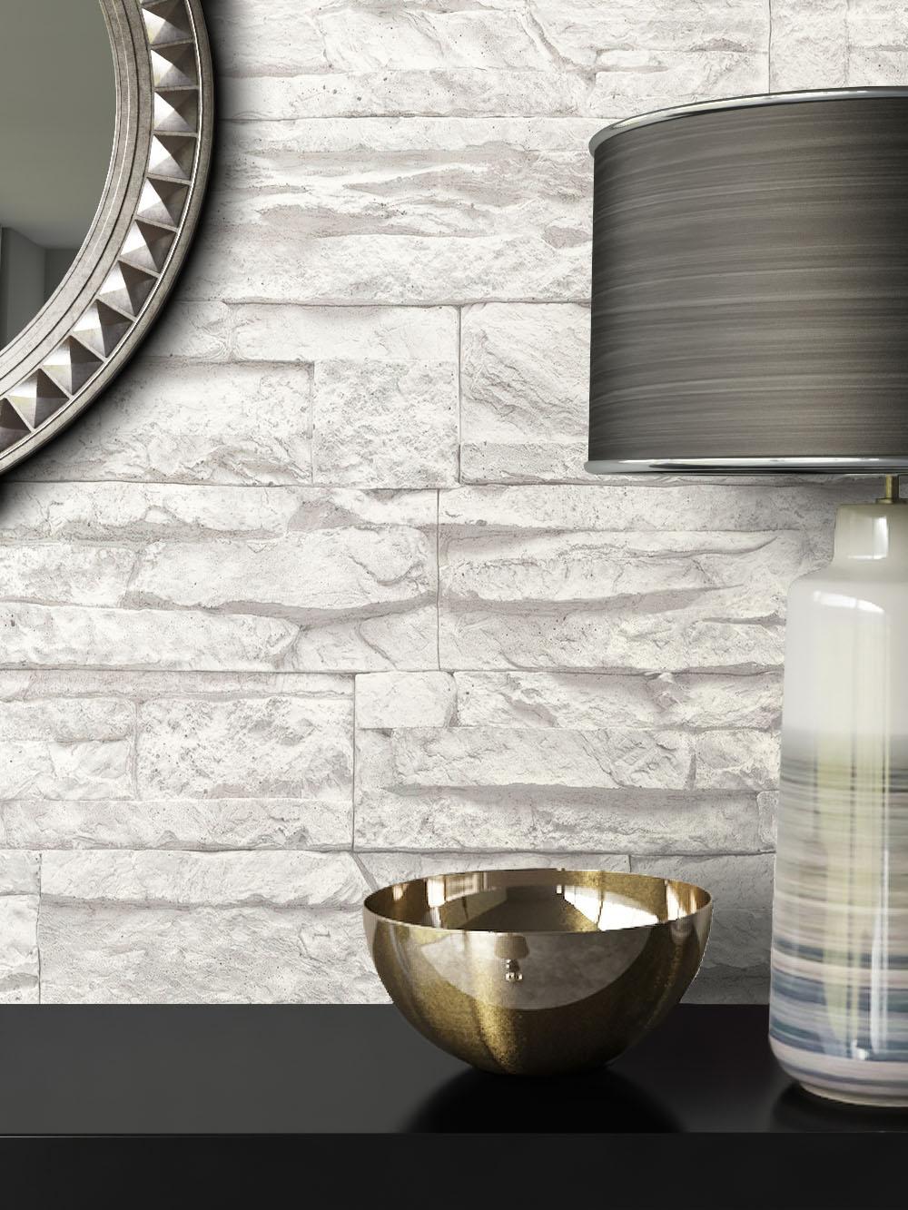 steintapete weiss, newroom steintapete vliestapete grau mauer stein jung weiß modern 3d, Design ideen