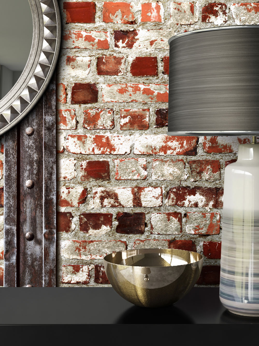 newroom steintapete rot wei landhaus modern rot wei 3d optik ebay. Black Bedroom Furniture Sets. Home Design Ideas